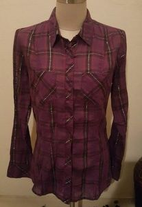 Guess Pruple Long sleeve Plaid Top Blouse Preloved